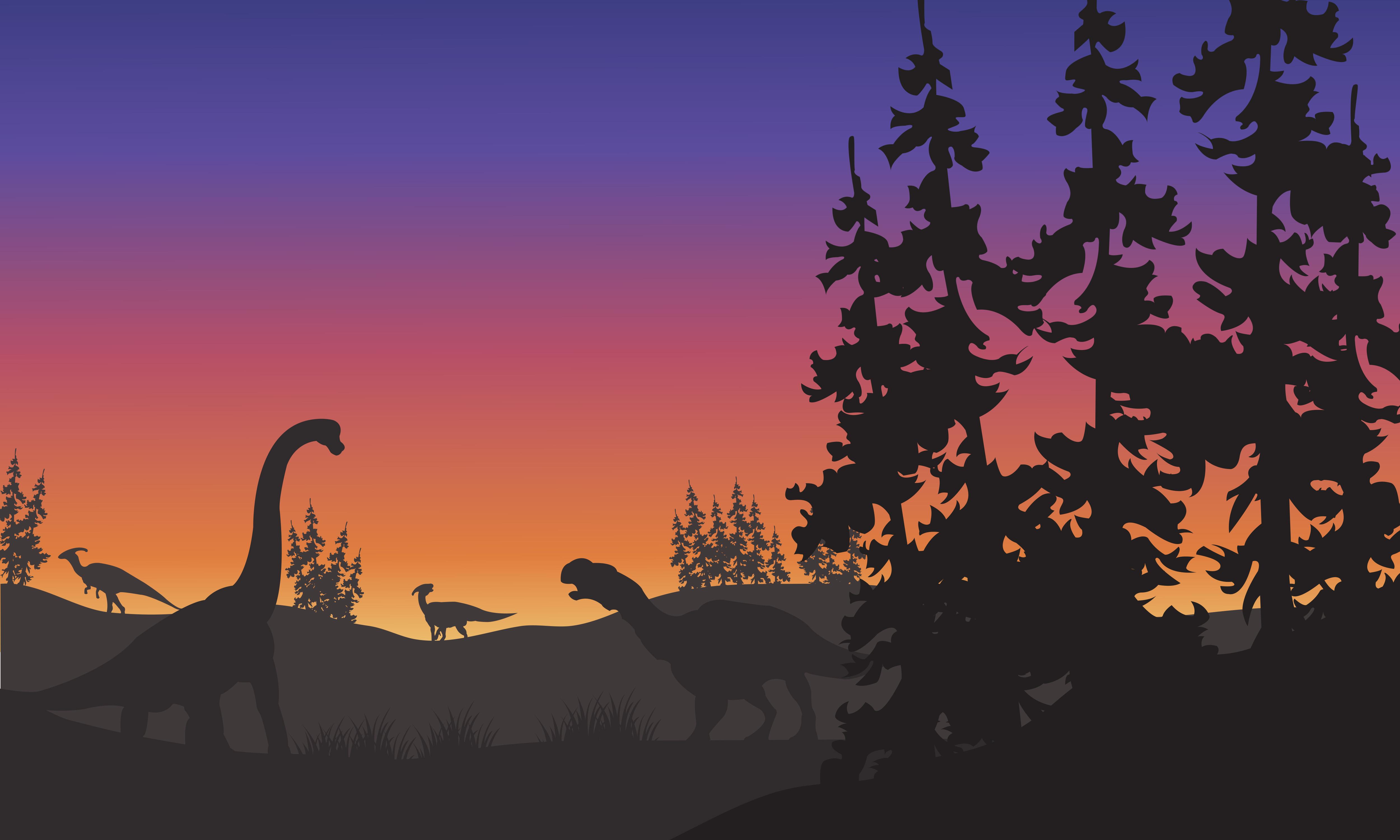 Silhouette of Brachiosaurus and Iguanodon